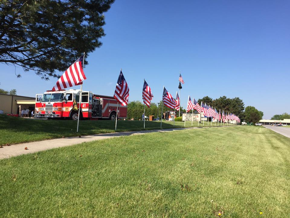 Fire Truck and American Flags