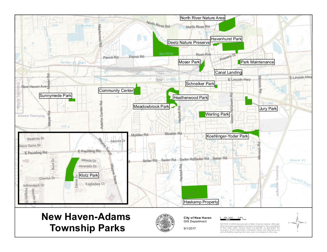 City of New Haven Parks Map