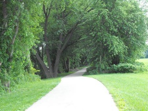 Trail with trees and paved sidewalk