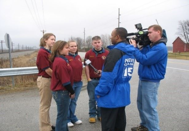 MYAC Members being interviewed on the news.